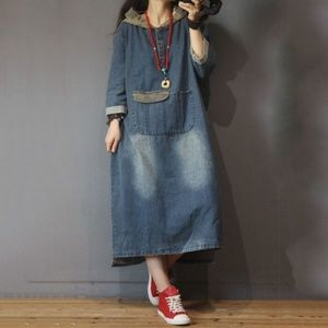 Long Sleeve Hooded Denim Dress with Big Pocket
